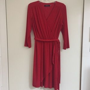 Ellen Tracy red faux wrap dress, size 12